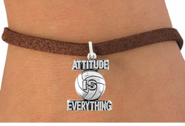 "<bR>                                 EXCLUSIVELY OURS!!<BR>                           AN ALLAN ROBIN DESIGN!!<BR>                  CLICK HERE TO SEE 600+ EXCITING<BR>                     CHANGES THAT YOU CAN MAKE!<BR>                                LEAD & NICKEL FREE!!<BR>              W1050SB - ""ATTITUDE IS EVERYTHING"" <Br>VOLLEYBALL BRACELET FROM $4.15 TO $8.00 ©2011"