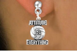 """<bR>                             EXCLUSIVELY OURS!!<BR>                       AN ALLAN ROBIN DESIGN!!<BR>              CLICK HERE TO SEE 600+ EXCITING<BR>                 CHANGES THAT YOU CAN MAKE!<BR>                           LEAD & NICKEL FREE!!<BR>             W1050SE - """"ATTITUDE IS EVERYTHING""""<Br>VOLLEYBALL EARRINGS FROM $4.50 TO $8.35 �2011"""