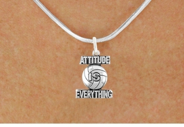 "<bR>                            EXCLUSIVELY OURS!!<BR>                      AN ALLAN ROBIN DESIGN!!<BR>             CLICK HERE TO SEE 600+ EXCITING<BR>                CHANGES THAT YOU CAN MAKE!<BR>                           LEAD & NICKEL FREE!!<BR>           W1050SN - ""ATTITUDE IS EVERYTHING""<Br>VOLLEYBALL NECKLACE FROM $4.50 TO $8.35 �2011"