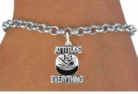 "<bR>                             EXCLUSIVELY OURS!!<BR>                       AN ALLAN ROBIN DESIGN!!<BR>              CLICK HERE TO SEE 600+ EXCITING<BR>                 CHANGES THAT YOU CAN MAKE!<BR>                            LEAD & NICKEL FREE!!<BR>          W1051SB - ""ATTITUDE IS EVERYTHING"" <Br>HOCKEY BRACELET FROM $4.15 TO $8.00 ©2011"