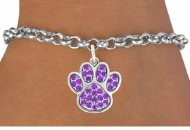 <bR>                                 EXCLUSIVELY OURS!!<BR>                           AN ALLAN ROBIN DESIGN!!<BR>                  CLICK HERE TO SEE 600+ EXCITING<BR>                     CHANGES THAT YOU CAN MAKE!<BR>                                LEAD & NICKEL FREE!!<BR>                  W1058SB - PURPLE PAW BRACELET<br>                         FROM $5.15 TO $9.00 ©2011