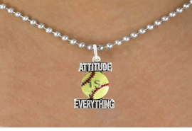 "<bR>                              EXCLUSIVELY OURS!!<BR>                        AN ALLAN ROBIN DESIGN!!<BR>               CLICK HERE TO SEE 600+ EXCITING<BR>                 CHANGES THAT YOU CAN MAKE!<BR>                            LEAD & NICKEL FREE!!<BR>W1062SN - ""ATTITUDE IS EVERYTHING"" SOFTBALL<Br>         NECKLACE FROM $4.50 TO $8.35 �2011"