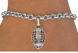 <bR>                             EXCLUSIVELY OURS!!<BR>                       AN ALLAN ROBIN DESIGN!!<BR>              CLICK HERE TO SEE 600+ EXCITING<BR>                 CHANGES THAT YOU CAN MAKE!<BR>                            LEAD & NICKEL FREE!!<BR>       W1068SB - TOPAZ & CRYSTAL FOOTBALL<br>          BRACELET FROM $5.40 TO $9.85 ©2011