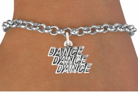 "<bR>                                 EXCLUSIVELY OURS!!<BR>                           AN ALLAN ROBIN DESIGN!!<BR>                  CLICK HERE TO SEE 1600+ EXCITING<BR>                     CHANGES THAT YOU CAN MAKE! <BR>                  LEAD, CADIMIUM,  & NICKEL FREE!!<BR>                W1072SB - ""DANCE, DANCE, DANCE""<Br>             BRACELET FROM $4.15 TO $8.00 ©2011"