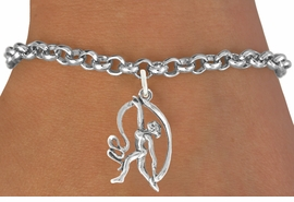 "<bR>                   EXCLUSIVELY OURS!!<BR>             AN ALLAN ROBIN DESIGN!!<BR>    CLICK HERE TO SEE 600+ EXCITING<BR>       CHANGES THAT YOU CAN MAKE!<BR>                  LEAD & NICKEL FREE!!<BR>W1073SB - ""GYMNAST WITH RIBBON""<Br>       BRACELET FROM $4.15 TO $8.00"
