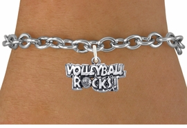 "<bR>                      EXCLUSIVELY OURS!!<BR>                AN ALLAN ROBIN DESIGN!!<BR>       CLICK HERE TO SEE 600+ EXCITING<BR>          CHANGES THAT YOU CAN MAKE!<BR>                     LEAD & NICKEL FREE!!<BR>W1093SB - ""VOLLEYBALL ROCKS"" CHARM<Br> & BRACELET FROM $4.15 TO $8.00 ©2011"
