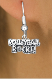 """<bR>                      EXCLUSIVELY OURS!!<BR>                AN ALLAN ROBIN DESIGN!!<BR>       CLICK HERE TO SEE 600+ EXCITING<BR>          CHANGES THAT YOU CAN MAKE!<BR>                     LEAD & NICKEL FREE!!<BR>W1093SE - """"VOLLEYBALL ROCKS"""" CHARM<Br>    EARRINGS FROM $4.50 TO $8.35 �2011"""