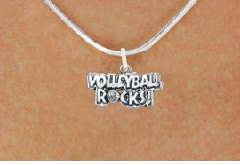 "<bR>                      EXCLUSIVELY OURS!!<BR>                AN ALLAN ROBIN DESIGN!!<BR>       CLICK HERE TO SEE 600+ EXCITING<BR>          CHANGES THAT YOU CAN MAKE!<BR>                     LEAD & NICKEL FREE!!<BR>W1093SN - ""VOLLEYBALL ROCKS"" CHARM<Br> & NECKLACE FROM $4.50 TO $8.35 �2011"