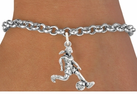 "<bR>                              EXCLUSIVELY OURS!!<BR>                        AN ALLAN ROBIN DESIGN!!<BR>               CLICK HERE TO SEE 600+ EXCITING<BR>                  CHANGES THAT YOU CAN MAKE!<BR>                             LEAD & NICKEL FREE!!<BR>              W1097SB - ""SOCCER GIRL"" CHARM<Br>         & BRACELET FROM $4.15 TO $8.00 ©2011"