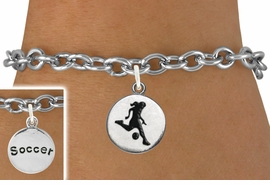 "<bR>                              EXCLUSIVELY OURS!!<BR>                        AN ALLAN ROBIN DESIGN!!<BR>               CLICK HERE TO SEE 600+ EXCITING<BR>                  CHANGES THAT YOU CAN MAKE!<BR>                             LEAD & NICKEL FREE!!<BR>W1098SB - 2 SIDED ""GIRL KICKING BALL / SOCCER""<Br>   CHARM & BRACELET FROM $4.15 TO $8.00 ©2011"