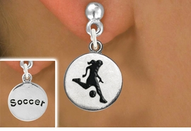 "<bR>                             EXCLUSIVELY OURS!!<BR>                       AN ALLAN ROBIN DESIGN!!<BR>              CLICK HERE TO SEE 600+ EXCITING<BR>                 CHANGES THAT YOU CAN MAKE!<BR>                            LEAD & NICKEL FREE!!<BR>W1098SE - 2 SIDED ""GIRL KICKING BALL / SOCCER""<Br>    CHARM EARRINGS FROM $4.50 TO $8.35 �2011"
