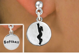 "<bR>                                EXCLUSIVELY OURS!!<BR>                          AN ALLAN ROBIN DESIGN!!<BR>                 CLICK HERE TO SEE 600+ EXCITING<BR>                    CHANGES THAT YOU CAN MAKE!<BR>                               LEAD & NICKEL FREE!!<BR>W1099SE - 2 SIDED ""GIRL CATCHING BALL / SOFTBALL""<Br>       CHARM EARRINGS FROM $4.50 TO $8.35 �2011"