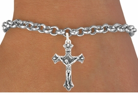 "<bR>                   EXCLUSIVELY OURS!!<BR>             AN ALLAN ROBIN DESIGN!!<BR>    CLICK HERE TO SEE 600+ EXCITING<BR>       CHANGES THAT YOU CAN MAKE!<BR>                  LEAD & NICKEL FREE!!<BR>      W1101SB - ""CRUCIFIX"" CHARM &<Br>BRACELET FROM $4.15 TO $8.00 �2011"
