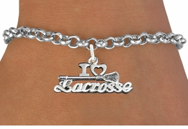 "<bR>                      EXCLUSIVELY OURS!!<BR>                AN ALLAN ROBIN DESIGN!!<BR>       CLICK HERE TO SEE 600+ EXCITING<BR>          CHANGES THAT YOU CAN MAKE!<BR>                     LEAD & NICKEL FREE!!<BR>    W1112B2 - ""I LOVE LACROSSE"" CHARM & <Br>     BRACELET FROM $4.15 TO $8.00 �2011"