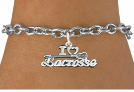 "<bR>                      EXCLUSIVELY OURS!!<BR>                AN ALLAN ROBIN DESIGN!!<BR>       CLICK HERE TO SEE 600+ EXCITING<BR>          CHANGES THAT YOU CAN MAKE!<BR>                     LEAD & NICKEL FREE!!<BR>    W1112B5 - ""I LOVE LACROSSE"" CHARM & <Br>     BRACELET FROM $4.15 TO $8.00 �2011"