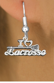 "<bR>                   EXCLUSIVELY OURS!!<BR>             AN ALLAN ROBIN DESIGN!!<BR>    CLICK HERE TO SEE 600+ EXCITING<BR>       CHANGES THAT YOU CAN MAKE!<BR>                  LEAD & NICKEL FREE!!<BR>        W1112SE - ""I LOVE LACROSSE"" CHARM<Br>EARRINGS FROM $4.50 TO $8.35 �2011"