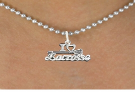 "<bR>                      EXCLUSIVELY OURS!!<BR>                AN ALLAN ROBIN DESIGN!!<BR>       CLICK HERE TO SEE 600+ EXCITING<BR>          CHANGES THAT YOU CAN MAKE!<BR>                     LEAD & NICKEL FREE!!<BR>  W1112SN - ""I LOVE LACROSSE"" CHARM & <Br>    NECKLACE FROM $4.50 TO $8.35 �2011"