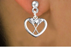 "<bR>                   EXCLUSIVELY OURS!!<BR>             AN ALLAN ROBIN DESIGN!!<BR>    CLICK HERE TO SEE 600+ EXCITING<BR>       CHANGES THAT YOU CAN MAKE!<BR>                  LEAD & NICKEL FREE!!<BR>W1113SE - ""CROSSED LACROSSE STICKS IN HEART"" <Br>CHARM EARRINGS FROM $4.50 TO $8.35 �2011"
