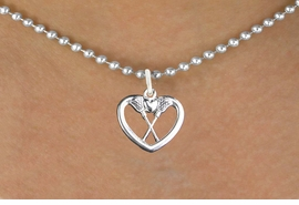 "<bR>                      EXCLUSIVELY OURS!!<BR>                AN ALLAN ROBIN DESIGN!!<BR>       CLICK HERE TO SEE 600+ EXCITING<BR>          CHANGES THAT YOU CAN MAKE!<BR>                     LEAD & NICKEL FREE!!<BR>W1113SN - ""CROSSED LACROSSE STICKS IN HEART"" <Br>    CHARM & NECKLACE FROM $4.50 TO $8.35 �2011"