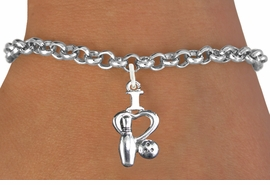 "<bR>                      EXCLUSIVELY OURS!!<BR>                AN ALLAN ROBIN DESIGN!!<BR>       CLICK HERE TO SEE 600+ EXCITING<BR>          CHANGES THAT YOU CAN MAKE!<BR>                     LEAD & NICKEL FREE!!<BR>    W1114SB - ""I LOVE BOWLING"" CHARM & <Br>     BRACELET FROM $4.15 TO $8.00 �2011"