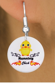 "<bR>                           EXCLUSIVELY OURS!!<BR>                     AN ALLAN ROBIN DESIGN!!<BR>            CLICK HERE TO SEE 600+ EXCITING<BR>               CHANGES THAT YOU CAN MAKE!<BR>                          LEAD & NICKEL FREE!!<BR>       W1126SE - ""RUNNING CHICK"" CHARM<Br>       EARRINGS FROM $4.50 TO $8.35 �2011"