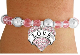 "<bR>                 EXCLUSIVELY OURS!!<BR>           AN ALLAN ROBIN DESIGN!!<BR>  CLICK HERE TO SEE 600+ EXCITING<BR>     CHANGES THAT YOU CAN MAKE!<BR>               LEAD & NICKEL FREE!!<BR>    W1137SB - ROSE CRYSTAL ""LOVE"" <BR>   HEART ON PINK CRYSTAL BRACELET <BR>        FROM $6.41 TO $14.25 �2012"