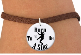 """<bR>                               EXCLUSIVELY OURS!!<BR>                         AN ALLAN ROBIN DESIGN!!<BR>                CLICK HERE TO SEE 600+ EXCITING<BR>                   CHANGES THAT YOU CAN MAKE!<BR>                             LEAD & NICKEL FREE!!<BR>W1154SB - """"BORN TO BE A STAR"""" WOMENS SOCCER<Br>CHARM  & BRACELET FROM $4.15 TO $8.00 �2012"""