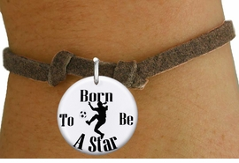 """<bR>                               EXCLUSIVELY OURS!!<BR>                         AN ALLAN ROBIN DESIGN!!<BR>                CLICK HERE TO SEE 600+ EXCITING<BR>                   CHANGES THAT YOU CAN MAKE!<BR>                             LEAD & NICKEL FREE!!<BR>W1154SB - """"BORN TO BE A STAR"""" WOMENS SOCCER CHARM  <Br>& CHILDRENS BRACELET FROM $4.15 TO $8.00 �2012"""
