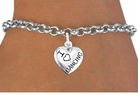 "<bR>                       EXCLUSIVELY OURS!!<BR>                 AN ALLAN ROBIN DESIGN!!<BR>        CLICK HERE TO SEE 600+ EXCITING<BR>           CHANGES THAT YOU CAN MAKE!<BR>           LEAD,CADMIUM, & NICKEL FREE!!<BR>W1180SB - ""I LOVE DANCING"" HEART CHARM  <Br>     & BRACELET FROM $4.15 TO $8.00 �2012"