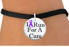 "<bR>                          EXCLUSIVELY OURS!!<BR>                    AN ALLAN ROBIN DESIGN!!<BR>           CLICK HERE TO SEE 600+ EXCITING<BR>              CHANGES THAT YOU CAN MAKE!<BR>                       LEAD & NICKEL FREE!!<BR>W1187SB - PURPLE RIBBON ""I RUN FOR A CURE"" <Br>CHARM & BRACELET FROM $4.15 TO $8.00 �2012"