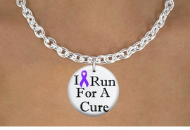 "<bR>                              EXCLUSIVELY OURS!!<BR>                        AN ALLAN ROBIN DESIGN!!<BR>               CLICK HERE TO SEE 600+ EXCITING<BR>                  CHANGES THAT YOU CAN MAKE!<BR>                             LEAD & NICKEL FREE!!<BR>  W1187SN - PURPLE RIBBON ""I RUN FOR A CURE""  <Br>CHARM & NECKLACE FROM $4.50 TO $8.35 �2012"