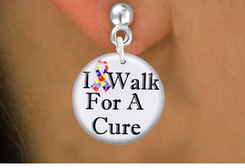 """<bR>                               EXCLUSIVELY OURS!!<BR>                         AN ALLAN ROBIN DESIGN!!<BR>                CLICK HERE TO SEE 600+ EXCITING<BR>                   CHANGES THAT YOU CAN MAKE!<BR>                              LEAD & NICKEL FREE!!<BR>W1229SE - AUTISM RIBBON """"I WALK FOR A CURE"""" <Br>CHARM EARRINGS FROM $4.50 TO $8.35 �2012"""