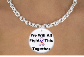 "<bR>                  EXCLUSIVELY OURS!!<BR>            AN ALLAN ROBIN DESIGN!!<BR>   CLICK HERE TO SEE 600+ EXCITING<BR>      CHANGES THAT YOU CAN MAKE!<BR>                 LEAD & NICKEL FREE!!<BR> W1230SN - AUTISM PUZZLE RIBBON  <BR>""WE WILL ALL FIGHT THIS TOGETHER""  <Br>                  CHARM & NECKLACE <BR>        FROM $4.50 TO $8.35 �2012"