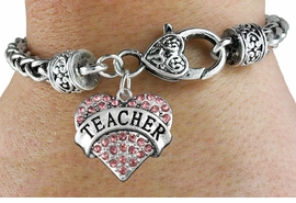 "<bR>                 EXCLUSIVELY OURS!!<BR>           AN ALLAN ROBIN DESIGN!!<BR>  CLICK HERE TO SEE 600+ EXCITING<BR>     CHANGES THAT YOU CAN MAKE!<BR>               LEAD & NICKEL FREE!!<BR>W1242SB - ROSE CRYSTAL ""TEACHER"" <BR>     HEART ON HEART CLASP BRACELET <BR>        FROM $5.63 TO $12.50 �2012"