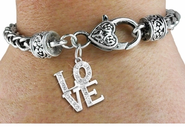 "<bR>                   EXCLUSIVELY OURS!!<BR>             AN ALLAN ROBIN DESIGN!!<BR>    CLICK HERE TO SEE 600+ EXCITING<BR>       CHANGES THAT YOU CAN MAKE!<BR>                 LEAD & NICKEL FREE!!<BR>       W1273SB - BEAUTIFUL ""LOVE""<BR>   CHARM & HEART CLASP BRACELET <BR>         FROM $5.63 TO $12.50 �2012"