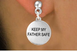 "<bR>               EXCLUSIVELY OURS!!<BR>         AN ALLAN ROBIN DESIGN!!<BR>CLICK HERE TO SEE 600+ EXCITING<BR>   CHANGES THAT YOU CAN MAKE!<BR>              LEAD & NICKEL FREE!! <BR>W1279SE -  ""KEEP MY FATHER SAFE""  <BR>   CHARM PIERCED EAR EARRINGS <BR>      FROM $4.50 TO $8.35 �2012"