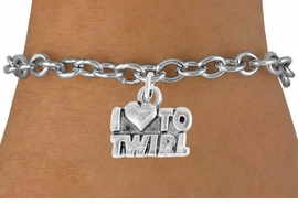 "<bR>               EXCLUSIVELY OURS!!<BR>         AN ALLAN ROBIN DESIGN!!<BR>CLICK HERE TO SEE 600+ EXCITING<BR>   CHANGES THAT YOU CAN MAKE!<BR>              LEAD & NICKEL FREE!!<BR>        W904SB - ""I LOVE TO TWIRL""<Br>  BRACELET FROM $4.50 TO $8.35"