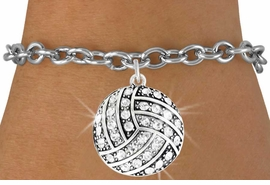 <bR>               EXCLUSIVELY OURS!!<BR>         AN ALLAN ROBIN DESIGN!!<BR>CLICK HERE TO SEE 600+ EXCITING<BR>   CHANGES THAT YOU CAN MAKE!<BR>              LEAD & NICKEL FREE!!<BR>    W909SB - AUSTRIAN CRYSTAL<Br>VOLLEYBALL CHARM &  BRACELET<bR>              FROM $5.40 TO $9.85