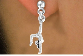 "<bR>               EXCLUSIVELY OURS!!<BR>         AN ALLAN ROBIN DESIGN!!<BR>CLICK HERE TO SEE 600+ EXCITING<BR>   CHANGES THAT YOU CAN MAKE!<BR>              LEAD & NICKEL FREE!!<BR> W965SE - ""GYMNAST ON HANDS"" <Br>       EARRINGS FROM $4.50 TO $8.35"
