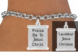 "<bR>               EXCLUSIVELY OURS!!<BR>         AN ALLAN ROBIN DESIGN!!<BR>CLICK HERE TO SEE 600+ EXCITING<BR>   CHANGES THAT YOU CAN MAKE!<BR>              LEAD & NICKEL FREE!!<BR>  W976SB - 2 SIDED ""PRAISE BE  <Br>        TO JESUS CHRIST"" BRACELET <BR>              FROM $4.15 TO $8.00"