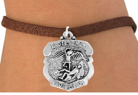 "<bR>                    EXCLUSIVELY OURS!!<BR>              AN ALLAN ROBIN DESIGN!!<BR>     CLICK HERE TO SEE 600+ EXCITING<BR>        CHANGES THAT YOU CAN MAKE!<BR>                   LEAD & NICKEL FREE!!<BR>  W980SB - ""PROTECT HIM PROTECT US"" <BR>      POLICE MAN ST. MICHAEL SHIELD &<Br>         BRACELET FROM $4.15 TO $8.00"