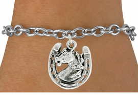 "<bR>               EXCLUSIVELY OURS!!<BR>         AN ALLAN ROBIN DESIGN!!<BR>CLICK HERE TO SEE 600+ EXCITING<BR>   CHANGES THAT YOU CAN MAKE!<BR>              LEAD & NICKEL FREE!!<BR>W986SB - ""STALLION ON HORSESHOE"" <Br>   & BRACELET FROM $4.15 TO $8.00"