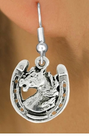 "<bR>               EXCLUSIVELY OURS!!<BR>         AN ALLAN ROBIN DESIGN!!<BR>CLICK HERE TO SEE 600+ EXCITING<BR>   CHANGES THAT YOU CAN MAKE!<BR>              LEAD & NICKEL FREE!!<BR>W986SE - ""STALLION ON HORSE SHOE""<Br>  EARRINGS FROM $4.50 TO $8.35"