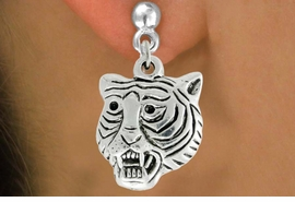 "<bR>               EXCLUSIVELY OURS!!<BR>         AN ALLAN ROBIN DESIGN!!<BR>CLICK HERE TO SEE 600+ EXCITING<BR>   CHANGES THAT YOU CAN MAKE!<BR>              LEAD & NICKEL FREE!!<BR>         W989SE - ""TIGER HEAD""<Br>  EARRINGS FROM $4.50 TO $8.35"