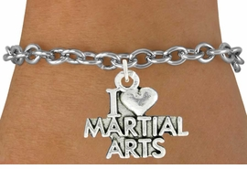 "<bR>               EXCLUSIVELY OURS!!<BR>         AN ALLAN ROBIN DESIGN!!<BR>CLICK HERE TO SEE 600+ EXCITING<BR>   CHANGES THAT YOU CAN MAKE!<BR>              LEAD & NICKEL FREE!!<BR>W991SB - ""I LOVE MARTIAL ARTS""<Br>& BRACELET FROM $4.15 TO $8.00"