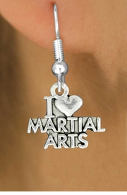"<bR>               EXCLUSIVELY OURS!!<BR>         AN ALLAN ROBIN DESIGN!!<BR>CLICK HERE TO SEE 600+ EXCITING<BR>   CHANGES THAT YOU CAN MAKE!<BR>              LEAD & NICKEL FREE!!<BR>W991SE - ""I LOVE MARTIAL ARTS""<Br>  EARRINGS FROM $4.50 TO $8.35"
