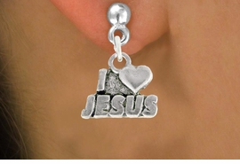 "<bR>               EXCLUSIVELY OURS!!<BR>         AN ALLAN ROBIN DESIGN!!<BR>CLICK HERE TO SEE 600+ EXCITING<BR>   CHANGES THAT YOU CAN MAKE!<BR>              LEAD & NICKEL FREE!!<BR>         W998SE - ""I LOVE JESUS""<Br>  EARRINGS FROM $4.50 TO $8.35"
