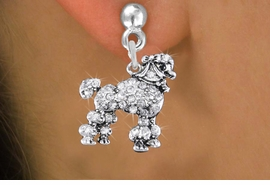 <bR>                 EXCLUSIVELY OURS!!<Br>           AN ALLAN ROBIN DESIGN!!<BR>     LEAD, NICKEL & CADMIUM FREE!! <BR>W1358SE - DETAILED POODLE <BR>WITH CLEAR CRYSTALS CHARM EARRINGS <BR>       FROM $4.95 TO $10.00 �2012