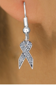 <bR>                 EXCLUSIVELY OURS!! <Br>             AN ALLAN ROBIN DESIGN!!<BR>       LEAD, NICKEL & CADMIUM FREE!! <BR>  W1386SE - CLEAR AWARENESS CRYSTAL <BR>     RIBBON CHARM EARRINGS <BR>         FROM $4.95 TO $10.00 �2013