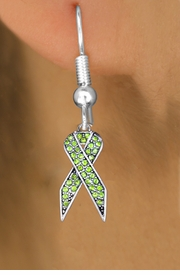 <bR>                 EXCLUSIVELY OURS!! <Br>             AN ALLAN ROBIN DESIGN!!<BR>       LEAD, NICKEL & CADMIUM FREE!! <BR>W1388SE - LIGHT GREEN AWARENESS CRYSTAL <BR>     RIBBON CHARM EARRINGS <BR>         FROM $4.95 TO $10.00 �2013
